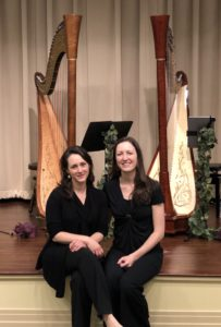 Atlantic Harp Duo at their final concert of the 2020 tour
